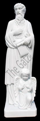 Hand carved life size marble statue of St. Matthew