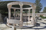 LARGE HAND CARVED GARDEN MARBLE GAZEBO WITH CARVED SEATS DOMED IRON TOP