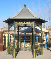 LOVELY CAST IRON GAZEBO, ASIAN STYLE WITH TRIANGULAR CLOSED IN ROOF