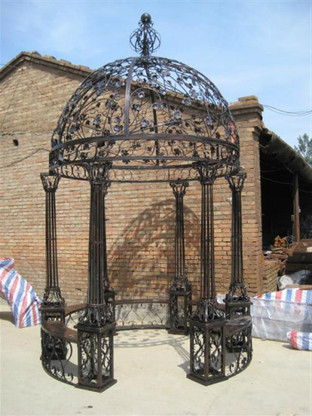 "INTRICATE LEAF DESIGN CAST IRON VICTORIAN STYLE GARDEN GAZEBO WITH WROUGHT IRON DOMED TOP, 165"" TALL"