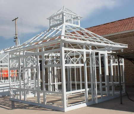 CAST IRON GARDEN GREENHOUSE OR CONSERVATORY, INCLUDES TEMPERED GLASS 15 FOOT SQUARE