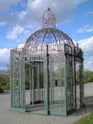 CAST & WROGHT IRON VICTORIAN STYLE GAZEBO, SQUARE WITH DOMED ROOF
