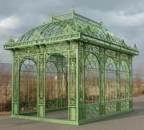 Iron gazebo garden conservatory tall rectangular for French style gazebo