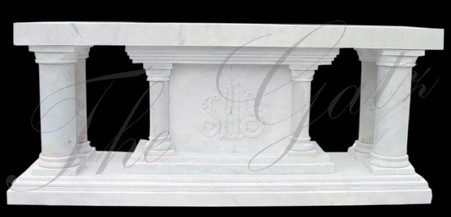Hand carved marble altar. Measures 100 wide x 42 tall x 36 deep.