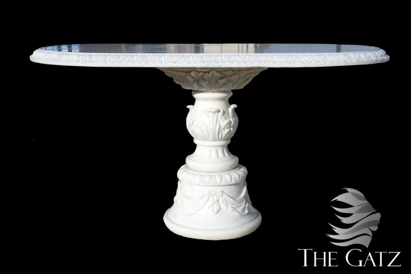 Hand Carved Oval White Marble Dining Table Pedestal Base 60 Long