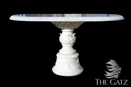 "HAND CARVED OVAL WHITE MARBLE DINING TABLE, PEDESTAL BASE 60"" LONG"