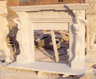 HAND CARVED BEIGE MARBLE FIREPLACE MANTEL WITH CARVED WOMEN COLUMNS