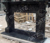 hand carved black marble fireplace mantel with carved women columns - Black Fireplace Mantels