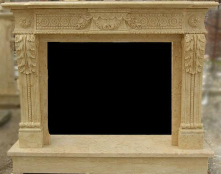 HAND CARVED MARBLE FIREPLACE MANTEL WITH ROSETTE CARVINGS, SHOWN IN BEIGE