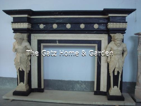 Two Tone Marble Fireplace Mantel with Greek Statue Columns - thegatz