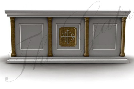 CUSTOM DESIGNED RELIGIOUS MARBLE ALTAR FEATURES GOLD TONED ACCENTS