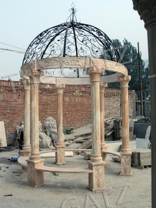 ELEGANT HAND CARVED MARBLE GAZEBO WITH IRON DOMED TOP, FEATURES SUNSET ORANGE MARBLE