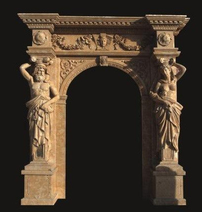 "LARGE MARBLE DOOR SURROUND WITH FIGURAL CARVINGS, 117"" TALL"