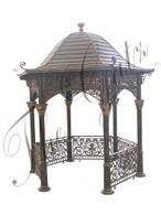 CAST IRON GAZEBO WITH SOLID ROOF AND FENCING, 14FT TALL