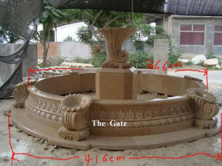 URN THEMED HAND CARVED MARBLE FOUNTAIN WITH SURROUND, GREAT CARVINGS 50-03166