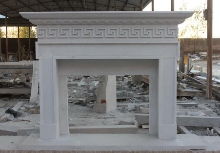 Hand Carved White Marble Fireplace Mantel, Greek Key Pattern, Classical Design