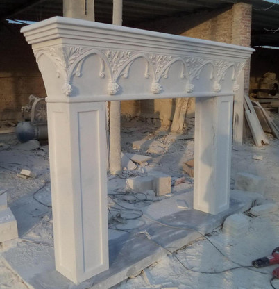 French Gothic White Marble Fireplace Mantel, Gothic Arch, Floral Reliefs, Clean Lines