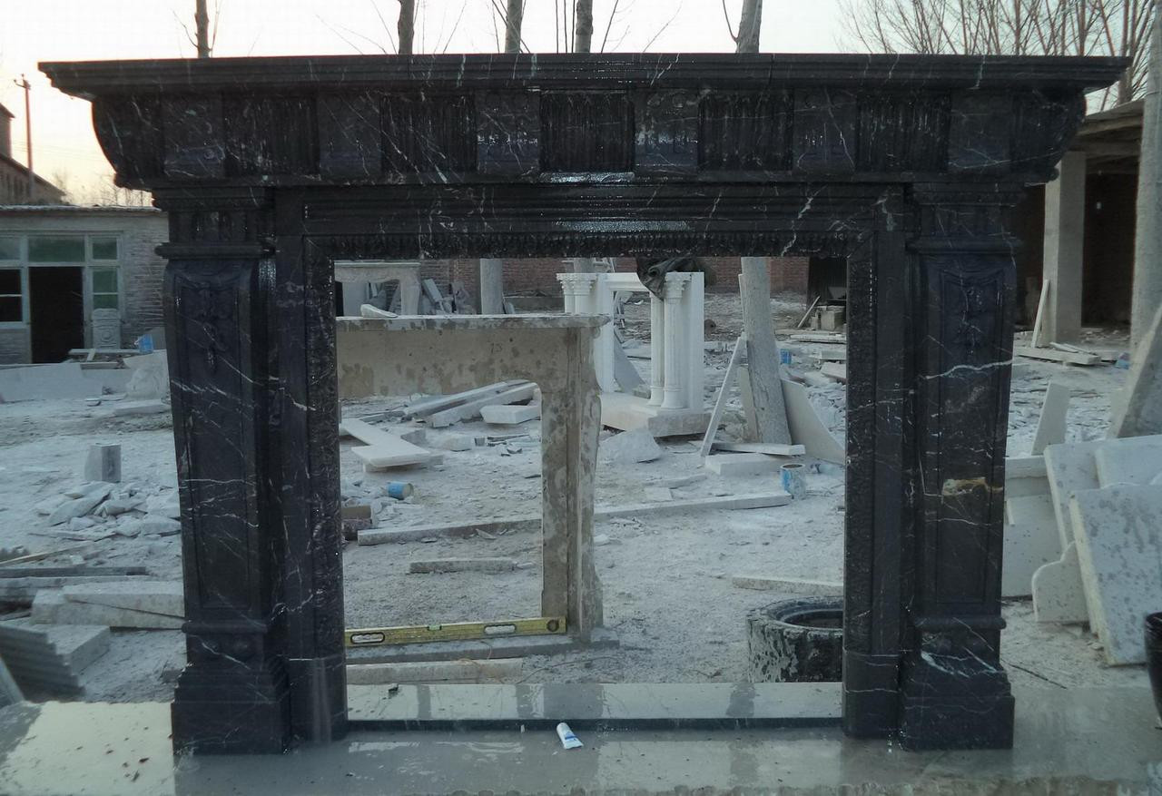 Marble Fireplace Mantel Hand Carved Greco Roman Black Marble Ebay