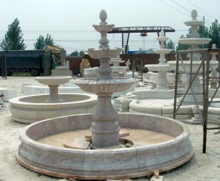 "HAND CARVED MARBLE FOUNTAIN WITH SURROUND, 3 TIER 89"" TALL"