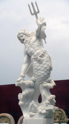 Large Hand Carved Statue Featuring Poseidon Or Neptune