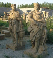 "LIFE SIZE HAND CARVED MARBLE ROMAN/GREEK STATUES, 71"" TALL, CARVINGS ARE TOP QUALITY"