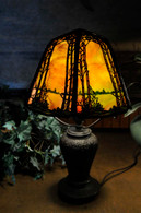 Antique Handel Pine Tree Overlay Boudoir Lamp with Swampy Base Rare Model