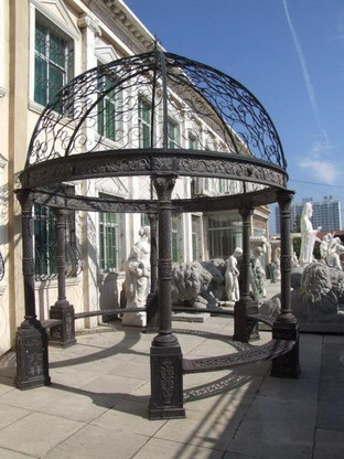 ROUND CAST IRON GAZEBO WITH BENCH SEATING MEASURES 12FT TALL