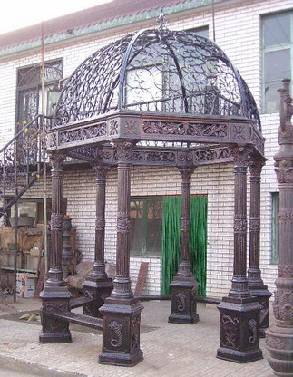 """CAST IRON GAZEBO WITH 6 CORINTHIAN CAPITALS, WROUGHT IRON DOME AND BENCH SEATING, 118"""" TALL"""