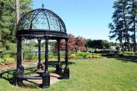 10 Foot Round Victorian Gazebo in Cast Iron, Domed Open Roof and Bench Seating 50-02162