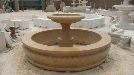 "LARGE MARBLE GARDEN FOUNTAIN WITH BASIN, 95"" WIDE, SINGLE TIER SIMPLE DESIGN"