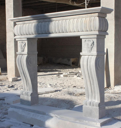 Old World Tuscan Farm Style Stone Marble Fireplace Mantel