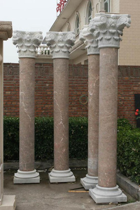 PAIR OF TALL CORINTHIAN STYLE HAND CARVED MARBLE COLUMNS, 10 FEET TALL