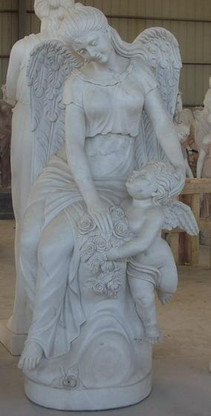 "HAND CARVED MARBLE STATUE OF FEMALE ANGEL WITH CHILD, 61"" TALL, NICE CHURCH OR CEMETERY STATUE"