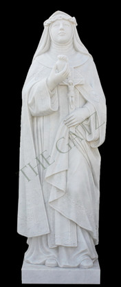 Hand carved marble statue depicting St. Catherine of Sienna.