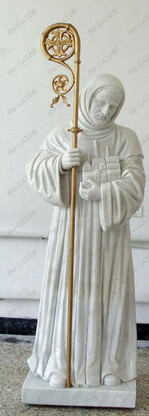 LOVELY HAND CARVED MARBLE RELIGIOUS STATUE OF ST. BERNARD ACCENTED WITH A BRONZE CROSIER