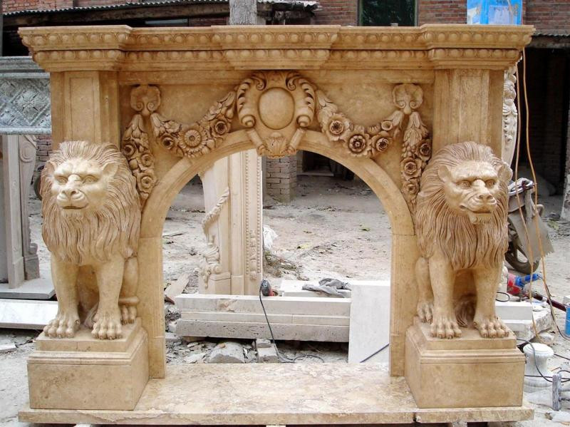 Very Best Hand Carved Italian Lion Design Marble Fireplace