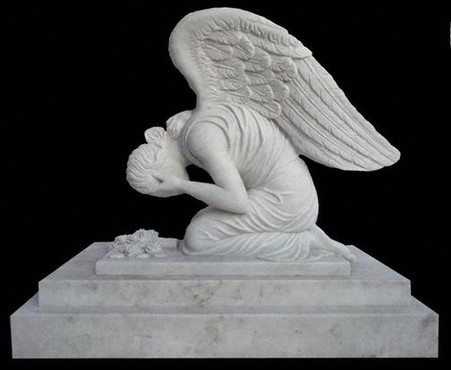 LARGE HAND CARVED MARBLE WEEPING ANGEL STATUE, NICE CEMETERY OR RELIGIOUS STATUE