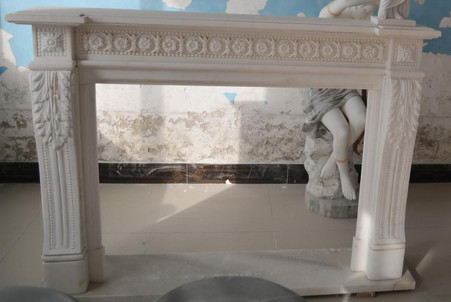 Hand carved Marble French Fireplace Mantel, White with Rosette Carvings Throughout