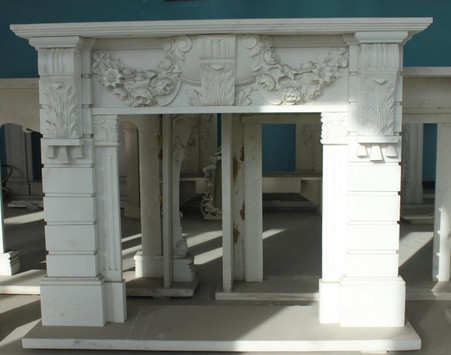 Hand carved Marble French fireplace mantel with Italian motif