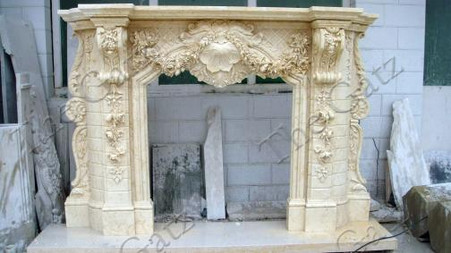 Heavily Carved Marble Fireplace Mantel, French Rococo Baroque ...