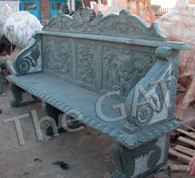 """LONG HAND CARVED GREEN MARBLE BENCH. FLORAL RELIEF CARVINGS AND SHELL DESIGN, 82.5 """""""