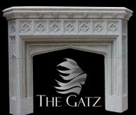 Custom designed gothic fireplace mantel. All carved from solid blocks of sandstone, 4 solid blocks when completed. Accented with delicately carved classical Gothic architectural design. Measures: 72 wide x 56 tall.. Opening measures 41 wide x 35 tall.  Before purchasing, please contact us for availability and shipping quote.
