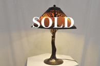 Handel Brown Mosserine Twin Trees Arts & Crafts Table Lamp RARE Crooked Tree Base