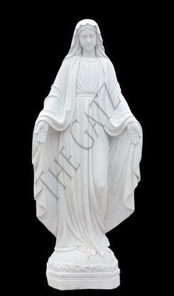 "HAND CARVED MARBLE RELIGIOUS STATUE OF OUR LADY OF GRACE 71"" TALL"