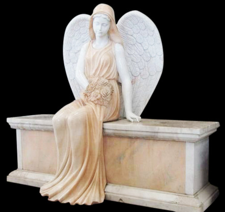 Marble Weeping Angel Statue or Cemetery Statue, Religious
