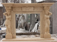 GORGEOUS HAND CARVED MARBLE FIREPLACE MANTEL FEATURES FEMALE STATUES ON POSTS