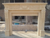 Hand Carved Egyptian Beige Marble Mantel Italian Design