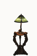Handel Twin Trees  Green Moisserine Overlay Lamp Tall Crooked Tree Base