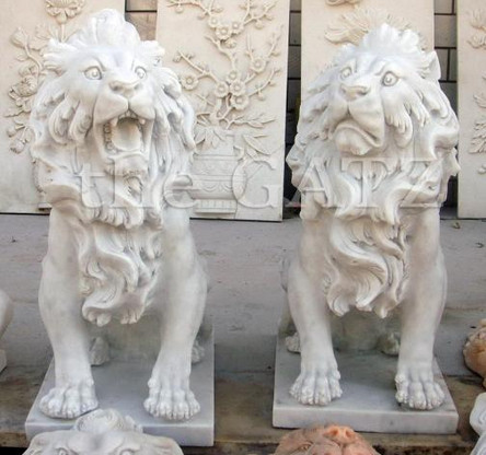 PAIR OF HAND CARVED WHITE MARBLE LION STATUES SITTING, SMALL VERSION