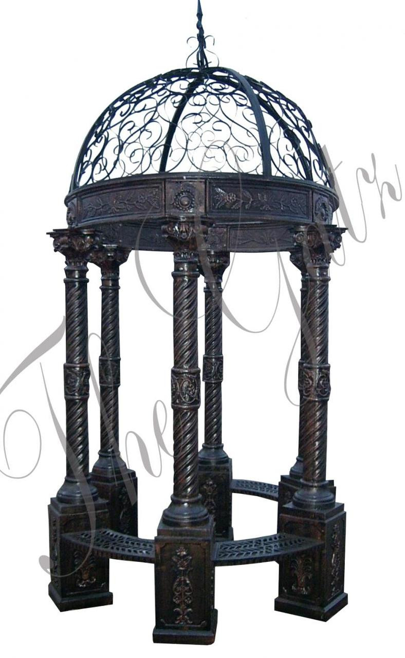 round cast iron victorian inspired gazebo dome top bench seating 126 tall thegatz. Black Bedroom Furniture Sets. Home Design Ideas